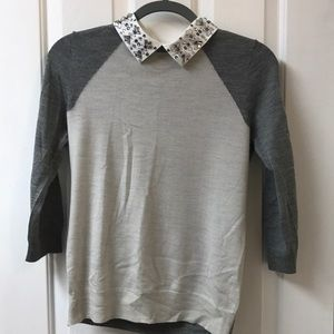 J.Crew Tippi Baseball Sweater w/removable collar